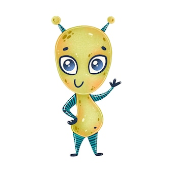 Ilustração de um alienígena verde bonito dos desenhos animados. monstro fofo isolado no branco.