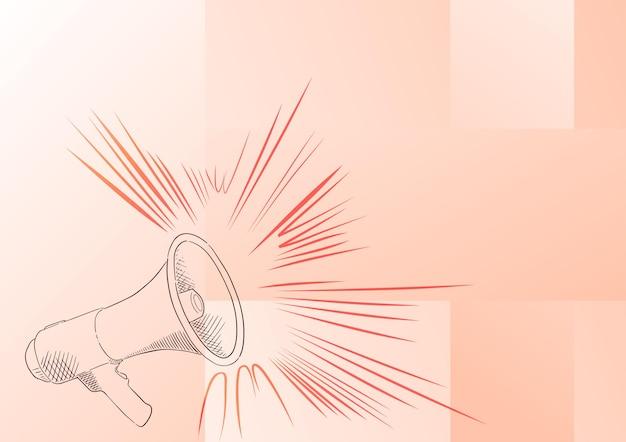 Ilustração de um alto-falante de megafone fazendo novos anúncios, desenho de linha, megafone, produzindo