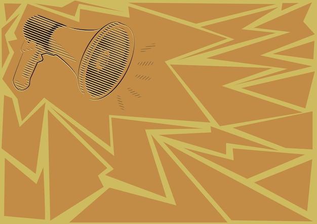 Ilustração de um alto-falante megafone alto fazendo novos anúncios. desenho de linha megafone produzindo propaganda recente. esboço do amplificador mostrando transmissão tardia.