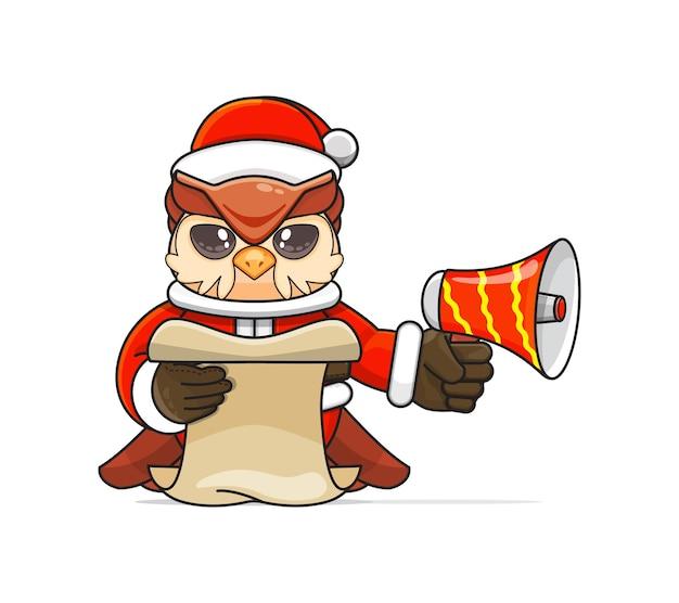 Ilustração de um animal coruja humanóide único vestindo uma fantasia segurando um megafone e lendo o roteiro