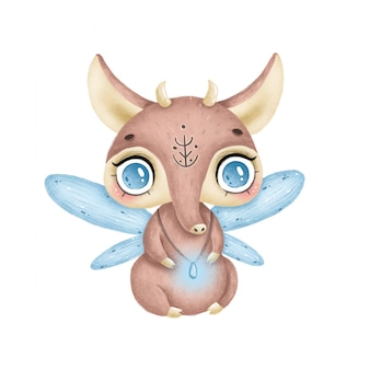 Ilustração de um animal de conto de fadas mágico bonito dos desenhos animados com chifres e asas em um fundo branco