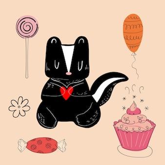 Ilustração de um animal de diferentes tipos entre os itens do feriado