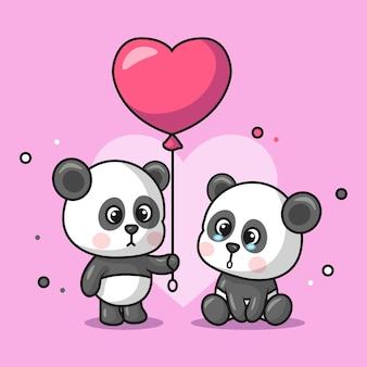 Ilustração de um animal panda fofo dando balões em forma de coração para outros pandas