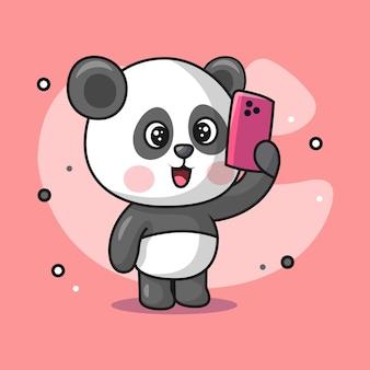 Ilustração de um animal panda fofo segurando um celular e uma selfie