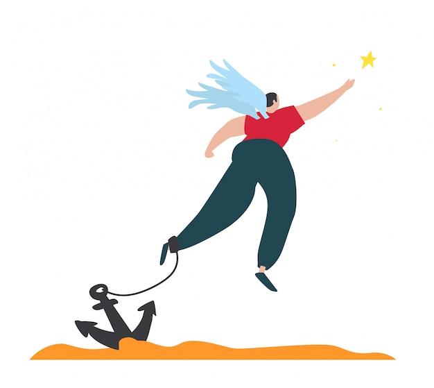 Ilustração de um anjo voador acorrentado com uma estrela