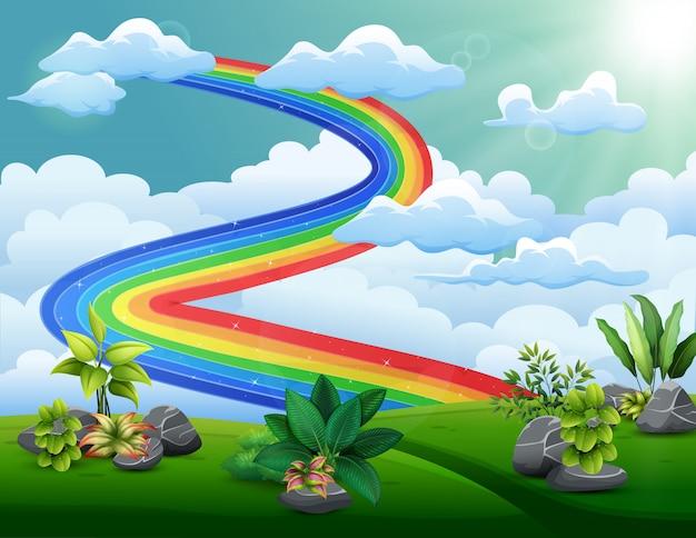 Ilustração de um arco-íris com céu nublado acima das colinas