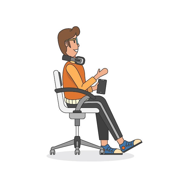 Ilustração, de, um, assento homem, em, um, cadeira