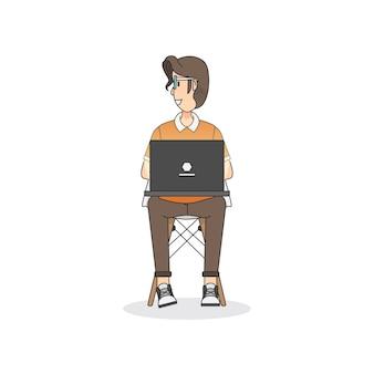 Ilustração, de, um, assento homem, ligado, um, cadeira
