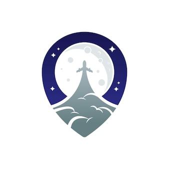 Ilustração de um avião voando na frente de uma lua grande em um símbolo de localização de ícone