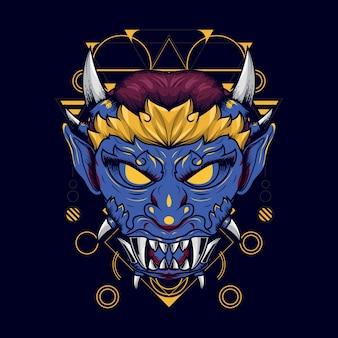 Ilustração, de, um, azul, enfrentado, demônio