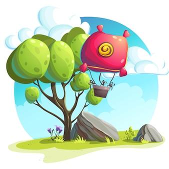 Ilustração de um balão de ar quente em um fundo de árvores e pedras