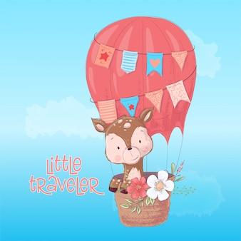Ilustração de um balão de veado bonitinho.