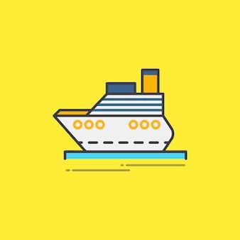 Ilustração, de, um, balsa de passageiros