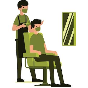 Ilustração de um barbeiro e seu cliente usando máscaras
