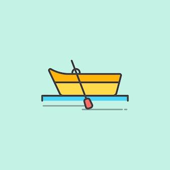 Ilustração, de, um, barco fileira