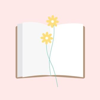 Ilustração de um bloco de notas aberto com flor