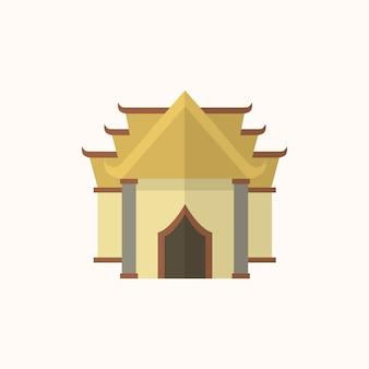Ilustração, de, um, budista, templo