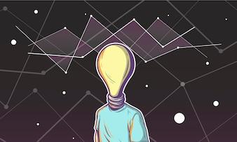 Ilustração, de, um, bulbo leve, cabeça