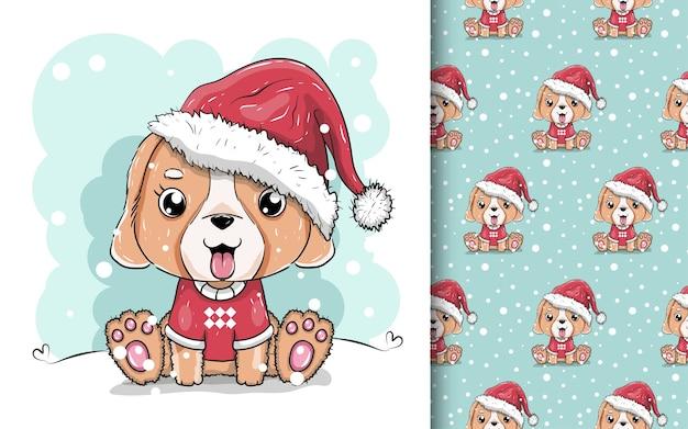 Ilustração de um cachorrinho fofo com chapéu de papai noel.