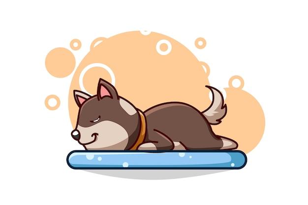 Ilustração de um cachorro fofo dormindo