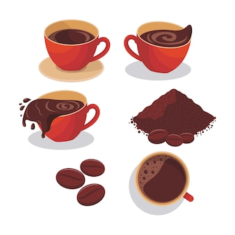 Ilustração de um café em uma caneca vermelha, café por cima, pó de café, grãos de café e café derramado