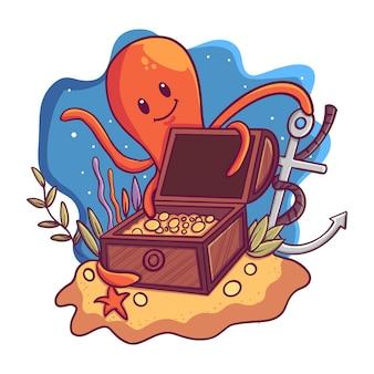 Ilustração, de, um, caixa tesouro, sob, a, mar, com, um, polvo