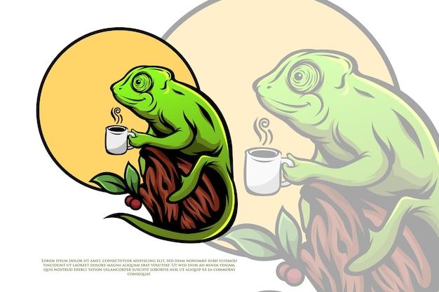 Ilustração de um camaleão tomando café quente