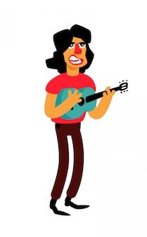 Ilustração de um cantor com uma guitarra.