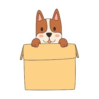 Ilustração de um cão fofo de desenho animado em uma caixa