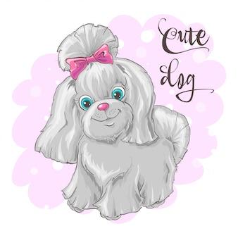 Ilustração de um cão pequeno bonito.