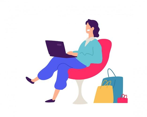 Ilustração de um cara em uma cadeira com as compras.