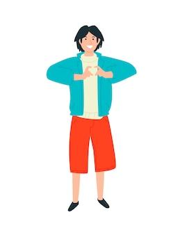 Ilustração de um cara que mostra um coração nos dedos.