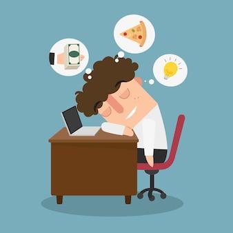 Ilustração de um cara sonhando acordado enquanto trabalha