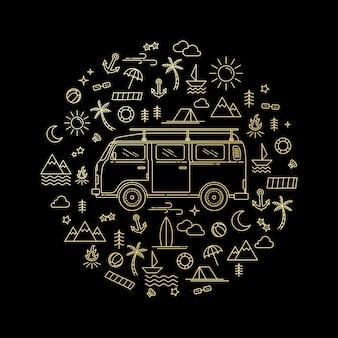 Ilustração de um carro de estilo de arte de linha dourada
