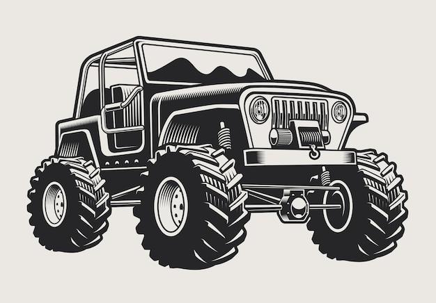 Ilustração de um carro suv off-road sobre um fundo claro. a ilustração tem um fundo