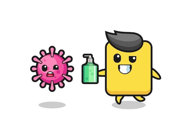 Ilustração de um cartão amarelo perseguindo o vírus maligno com desinfetante para as mãos, design de estilo fofo para camiseta, adesivo, elemento de logotipo