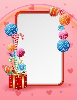 Ilustração de um cartão de doces e guloseimas