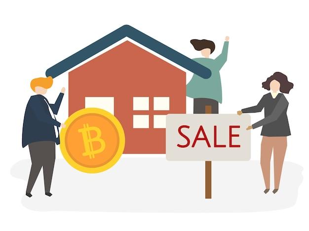 Ilustração, de, um, casa, venda