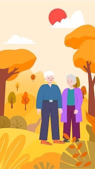 Ilustração de um casal de idosos de mãos dadas durante um passeio de outono