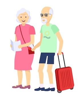 Ilustração de um casal de idosos viajando junto com a bagagem no reboque