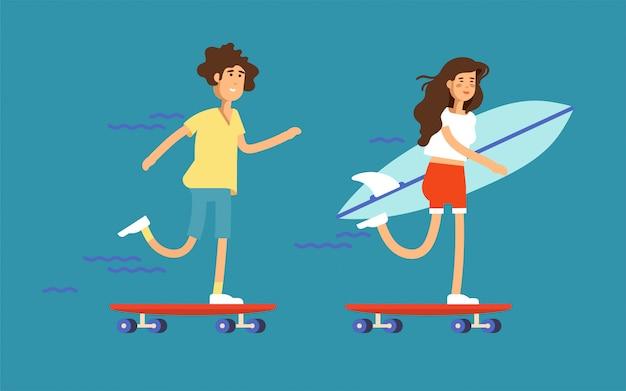 Ilustração de um casal de skatistas de menino e menina andando de skate e segurando a prancha de surf.