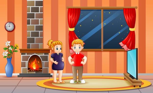 Ilustração de um casal feliz e grávida na sala de estar