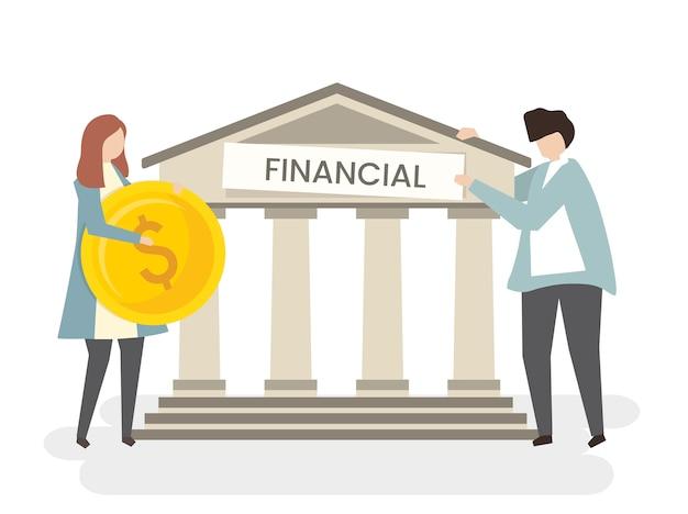 Ilustração de um casal no banco