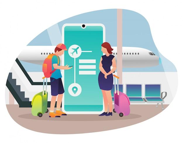 Ilustração de um casal que vai de férias usando um avião.