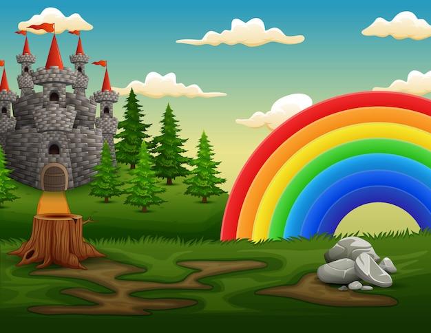 Ilustração de um castelo no topo da colina com um arco-íris