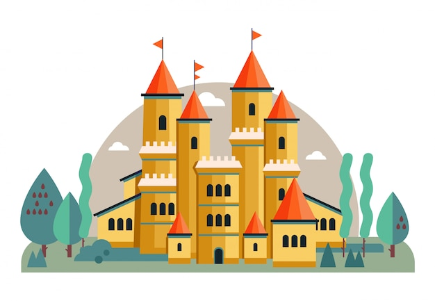 Ilustração de um castelo rosa fofo