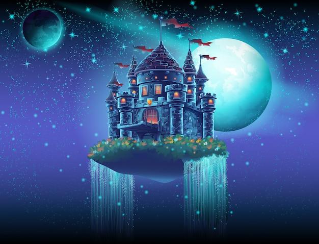 Ilustração de um castelo voador no espaço contra um fundo de estrelas e planetas