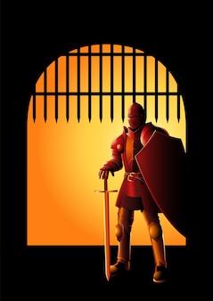 Ilustração de um cavaleiro medieval em armadura com espada e escudo no portão da frente