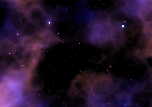 Ilustração de um céu de espaço de galáxia com estrelas e nebulosa