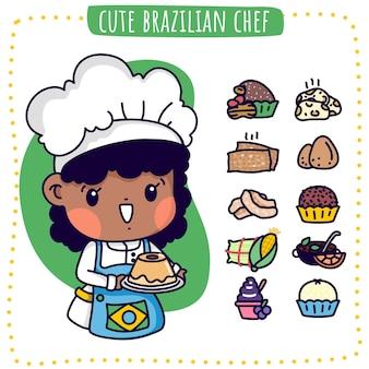 Ilustração de um chef brasileiro fofo e comidas brasileiras